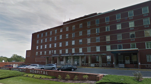 Sunbury Community Hospital in Sunbury, Pennsylvania (Google Earth)