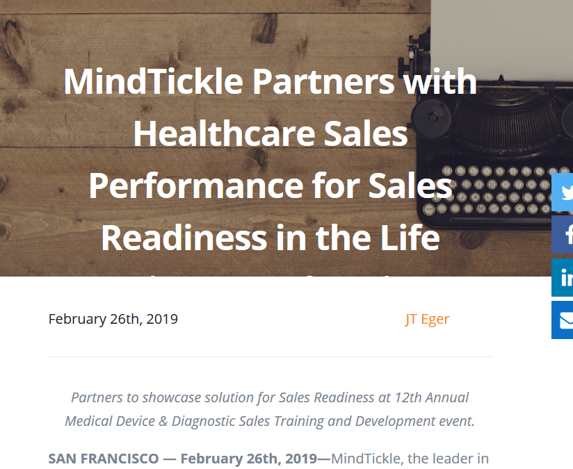 Healthcare Sales Performance, Inc. announces partnership with MindTickle