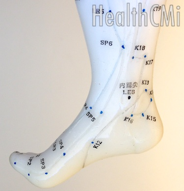 Acupuncture point SP6, Sanyinjiao, is depicted in this image.