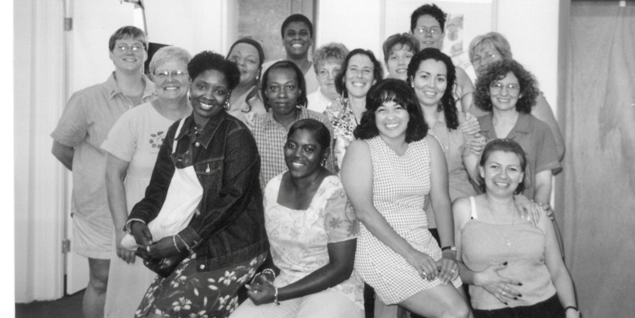 group of women black Latina and white - BW pic from 1990s