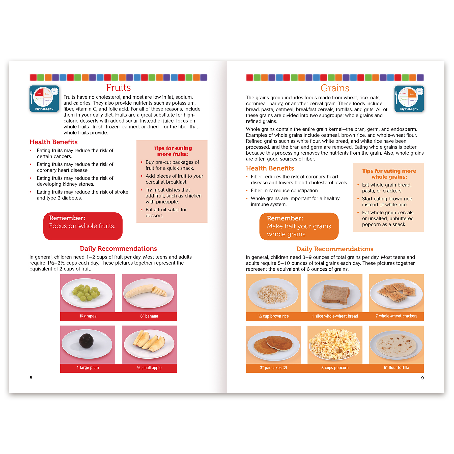hight resolution of healthy eating with myplate 16 page booklet spread nutrition basics and myplate food groups