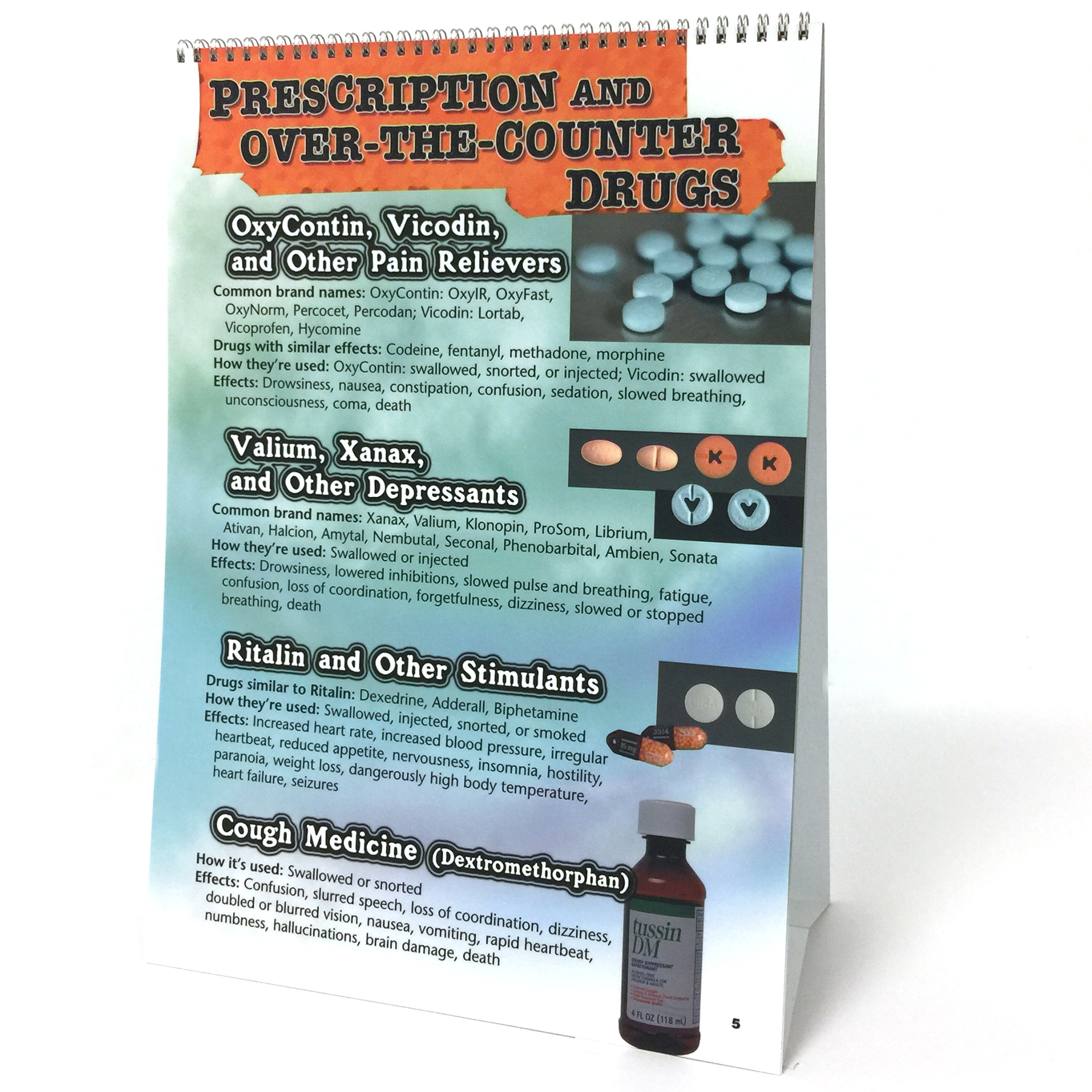 Substance abuse identification guide panel spiral bound flip chart prescription and otc also drug  id health edco rh healthedco