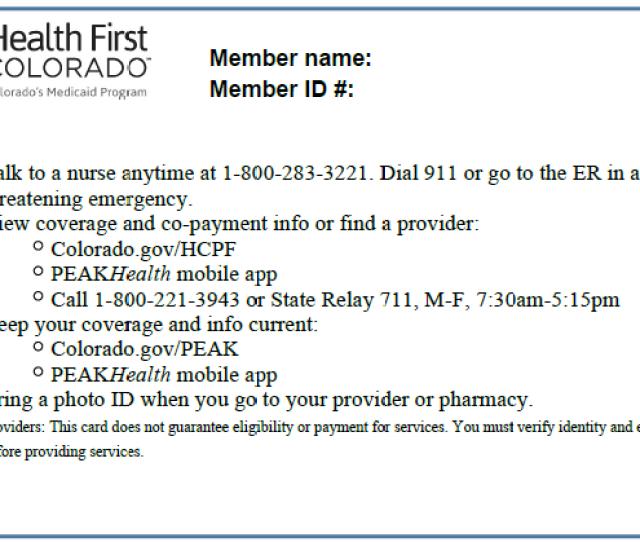 Health First Colorado Card