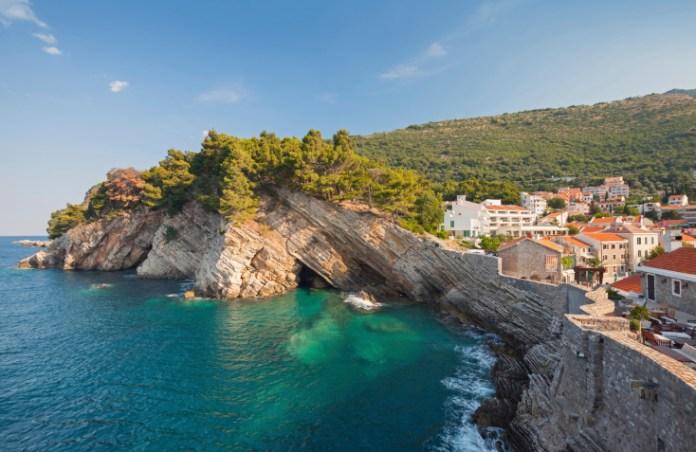 Adriatic sea, coastal landscape. Petrovac town, Montenegro