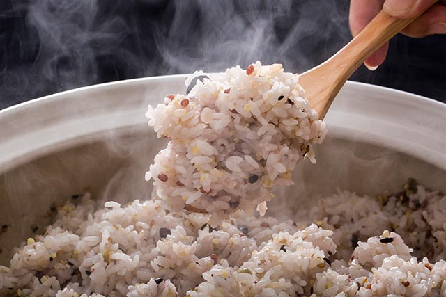 Freshly cooked brown rice