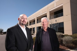Brian Swain (left) & Del Swain (right) Standing in front of the Healthier 4U Vending Office in Las Vegas, NV