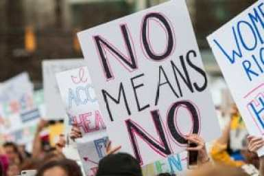 "Sexual assault and women's health: A protest sign that says ""No means no"" stands out among other signs at Atlanta social justice and women's march. Copyright: <a href='http://www.123rf.com/profile_blueiz60'>blueiz60 / 123RF Stock Photo</a>"