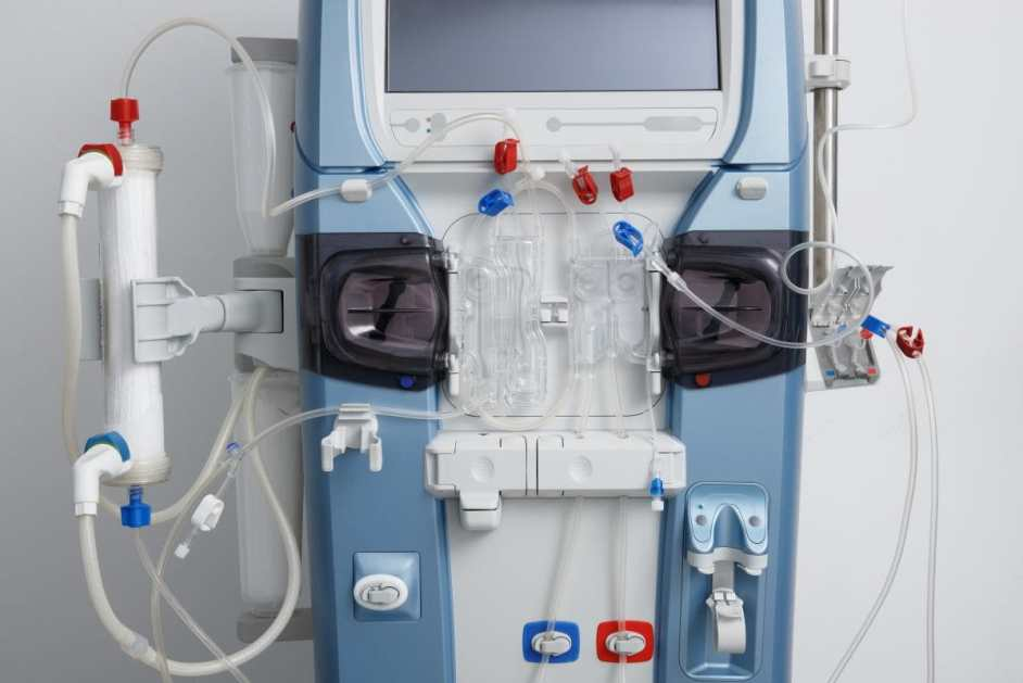 Closeup of hemodialysis machine with tubing and installations. Health care, blood purification, kidney failure, transplantation, medical equipment concept.