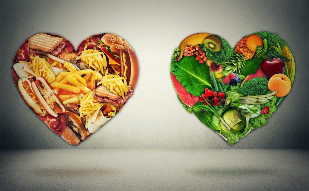 Diet choice dilemma and heart health concept. Trans fats.
