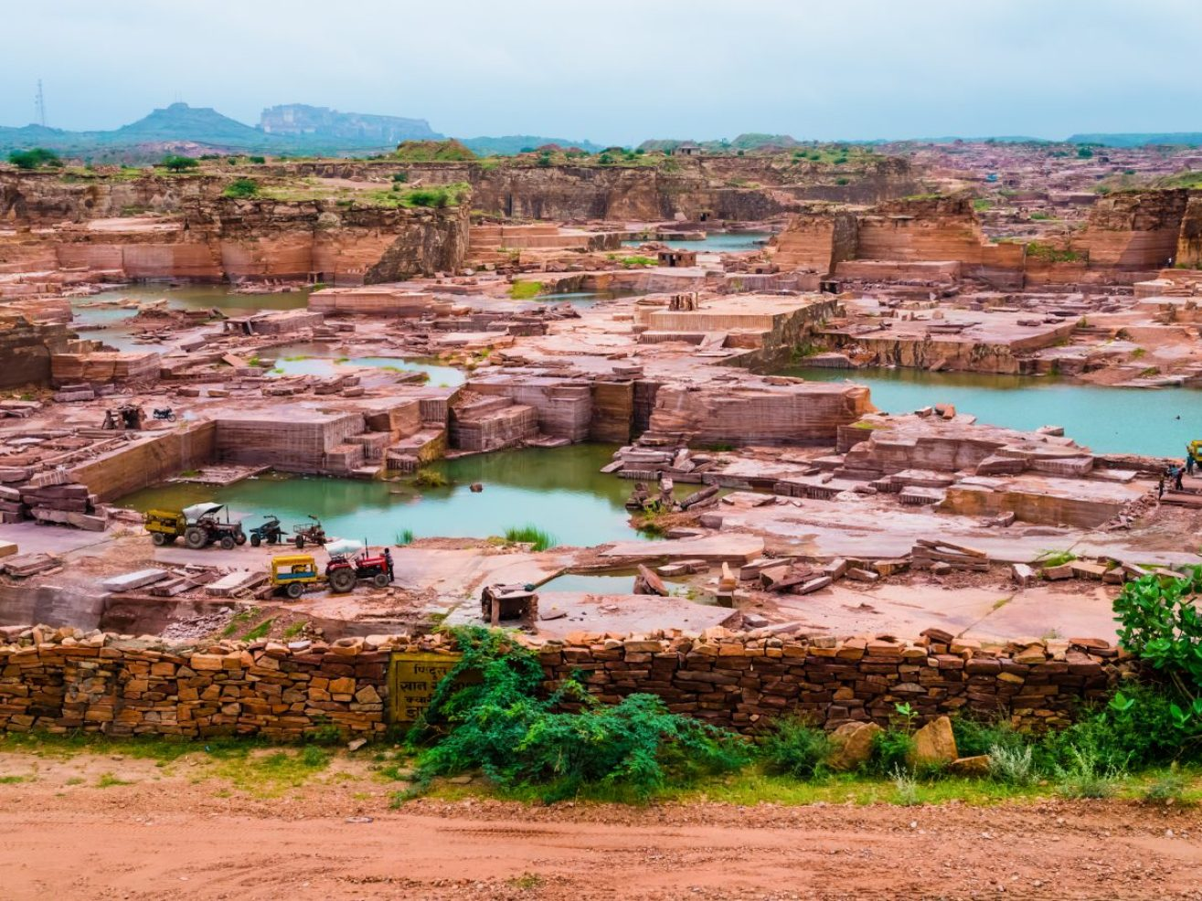 Stock Photo - Open-pit red sandstone mine, Jodhpur, Rajasthan, India