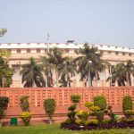 The Sansad Bhawan or Parliament Building is the house of the Parliament of India, New Delhi. It was designed by the British architect Edwin Lutyens and Herbert Baker in 1912-1913. It houses the Lok Sabha and the Rajya Sabha.