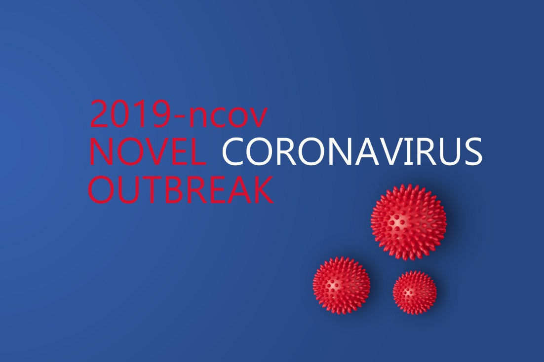 Abstarct virus strain model of Novel coronavirus 2019-nCoV with text on blue background. Virus Pandemic Protection Concept