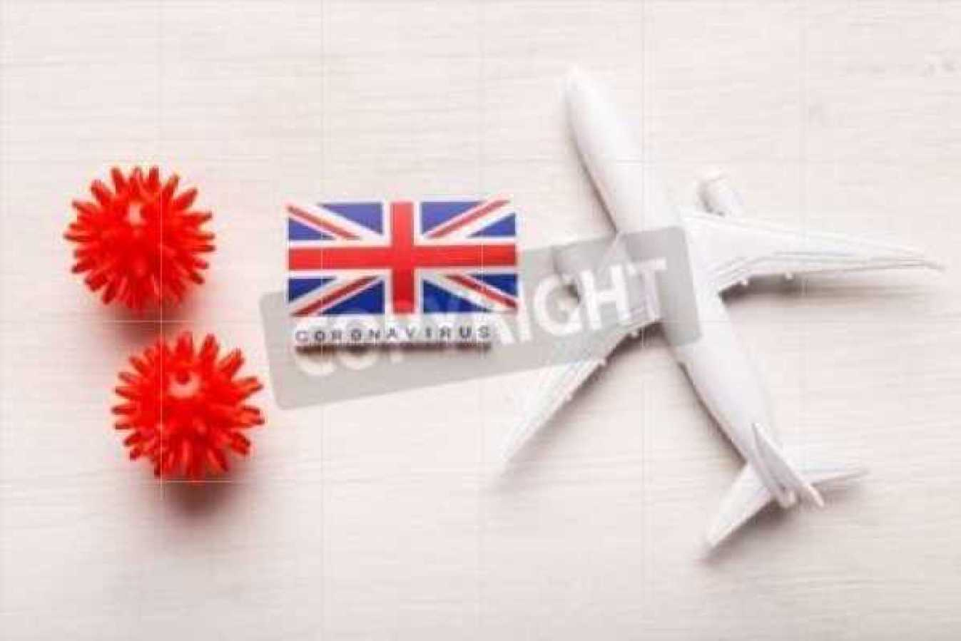 Flight ban and closed borders for tourists and travelers with coronavirus covid-19. Airplane and flag of United Kingdom on a white background. Coronavirus pandemic. Mutant COVID-19 strain travel restrictions illustration.