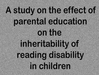 Result of parental education on inherited reading