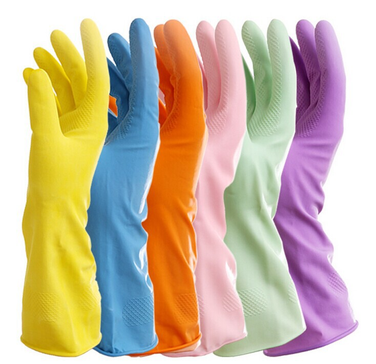 Rubber Reusable Gloves 3 Pair Set Assorted Colors  For
