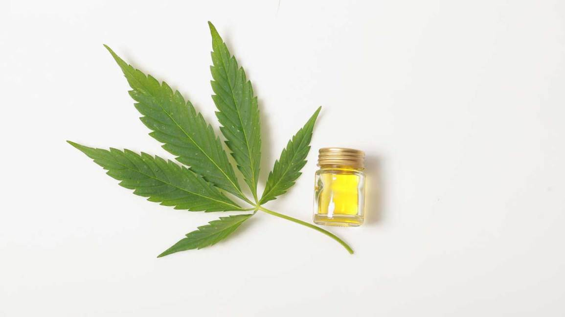CBD Oil and Cannabis Leaf