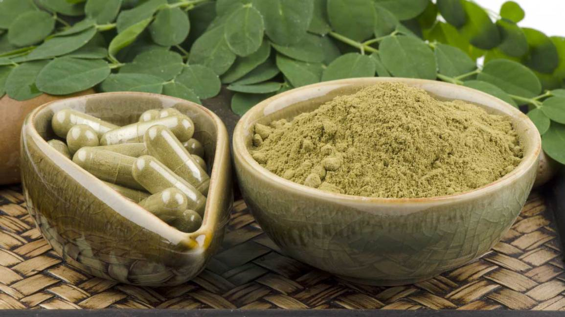 Moringa oleifera powder and capsules