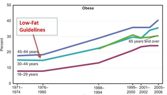 Low-Fat Dietary Guidelines Linked to Obesity Epidemic Graph