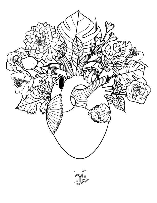 heart mindful coloring page