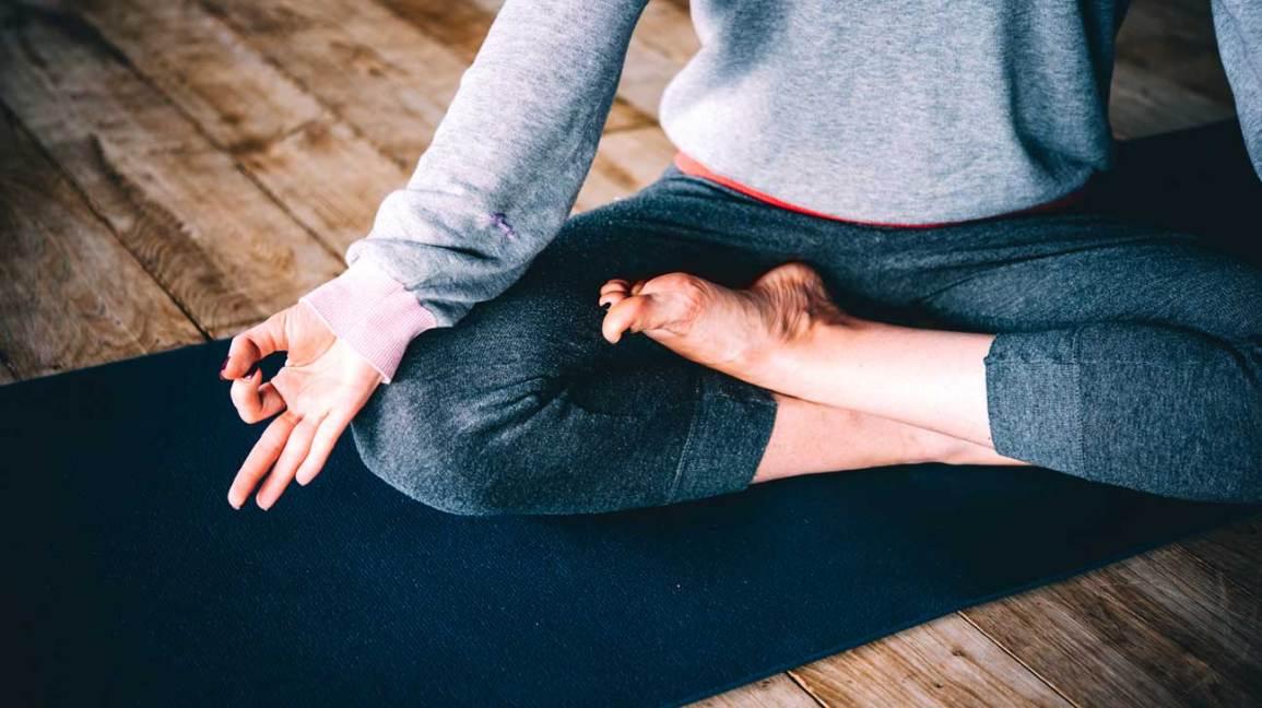 Legs Crossed on Yoga Mat