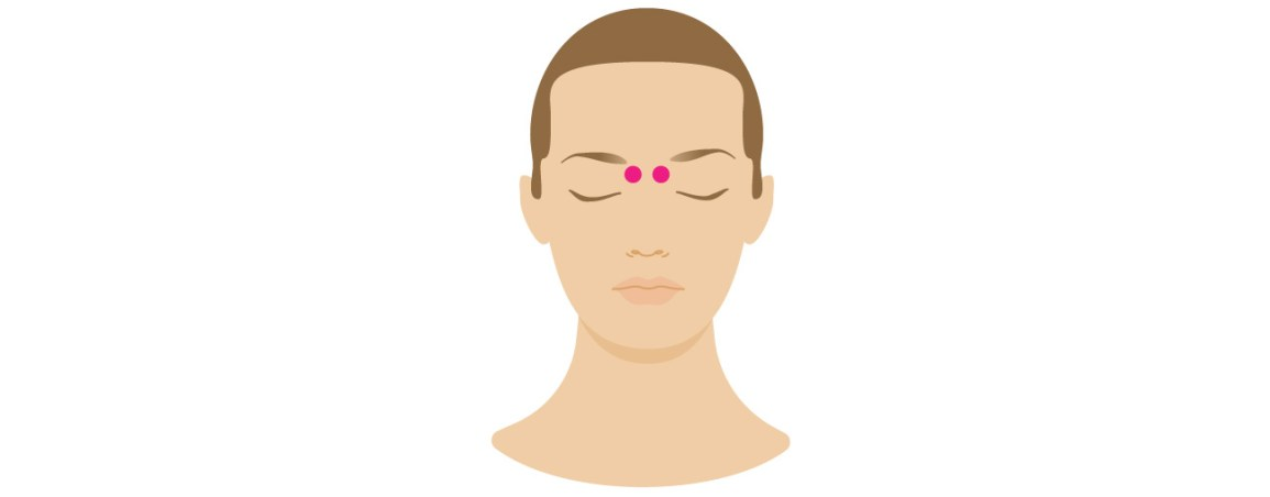 indentations on either side of the spot where the bridge of your nose meets the ridge of your eyebrows to use these pressure points to treat headaches