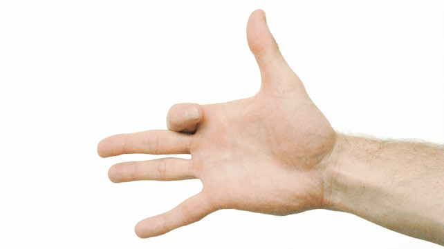 Finger beugt sich
