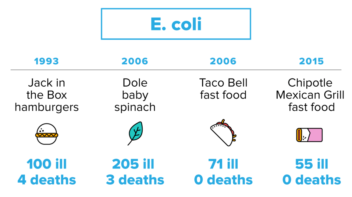 e coli bacteria normally lives in the intestines of animals and humans however infections from certain strains of this bacteria can sicken humans