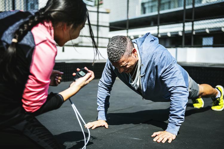 Man doing a push ups exercise