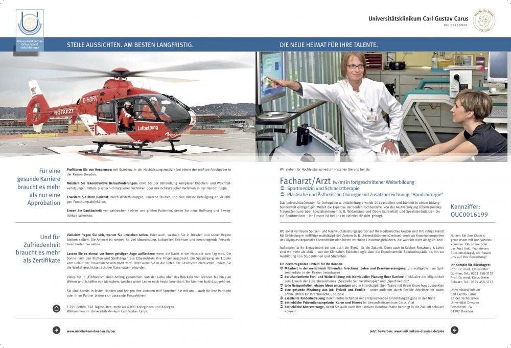 """BIG COMBI: """"Helikopter und Sportmedizinerin"""", von Universitätsklinikum Carl Gustav Carus/Westpress Agentur für Personamarketing"""