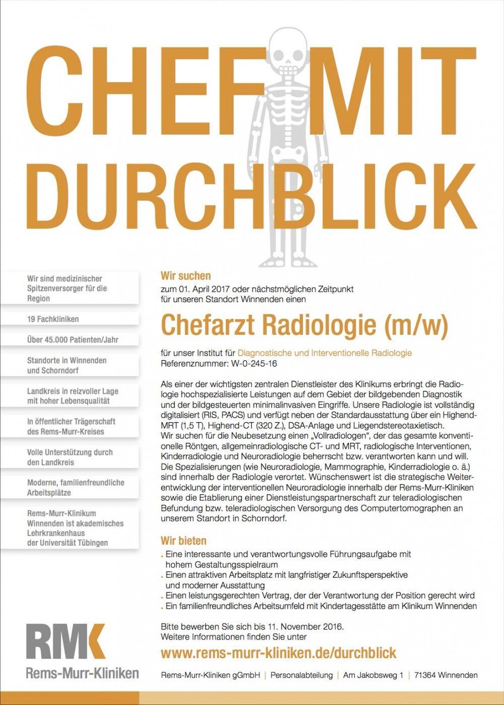 """BIG CREATION: """"Chef mit Durchblick"""", von Rems-Murr-Kliniken gGmbH/W52 Marketing Kommunikation GmbH"""