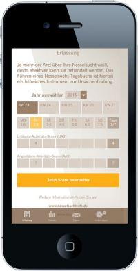 Die NesselApp von Novartis bietet eine Tagebuch-Funktion für Patienten