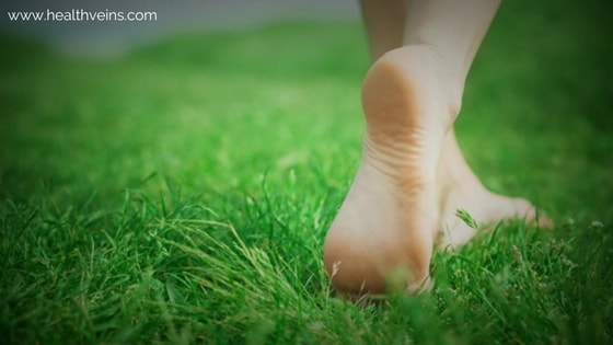 Benefits of walking barefoot on grass or earth