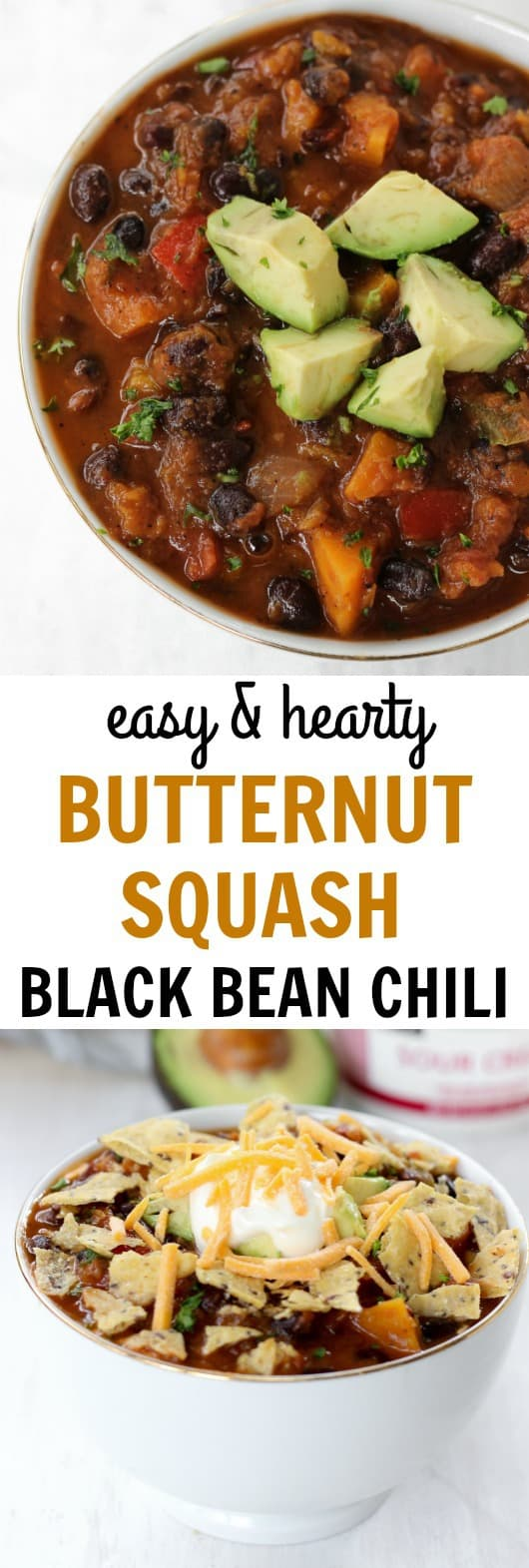 Hearty, cozy butternut squash black bean chili | healthy-liv.com