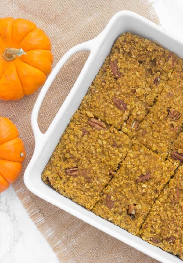 This pumpkin pecan baked oatmeal is an easy, healthy fall breakfast the whole family will love!
