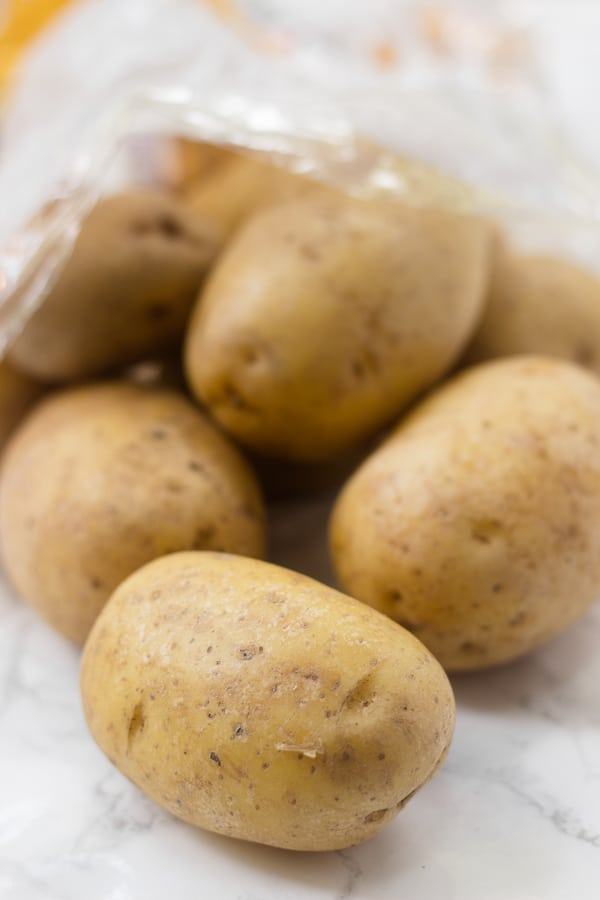 Yellow potatoes for warm roasted potato salad