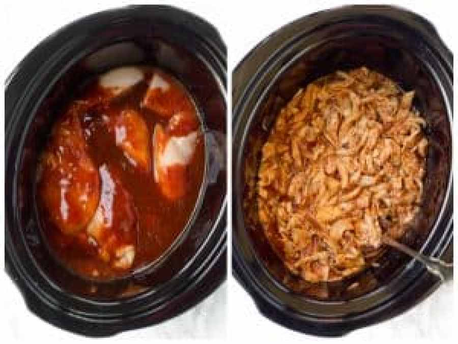 Simple Crockpot Pulled BBQ Chicken for an easy, delicious dinner!