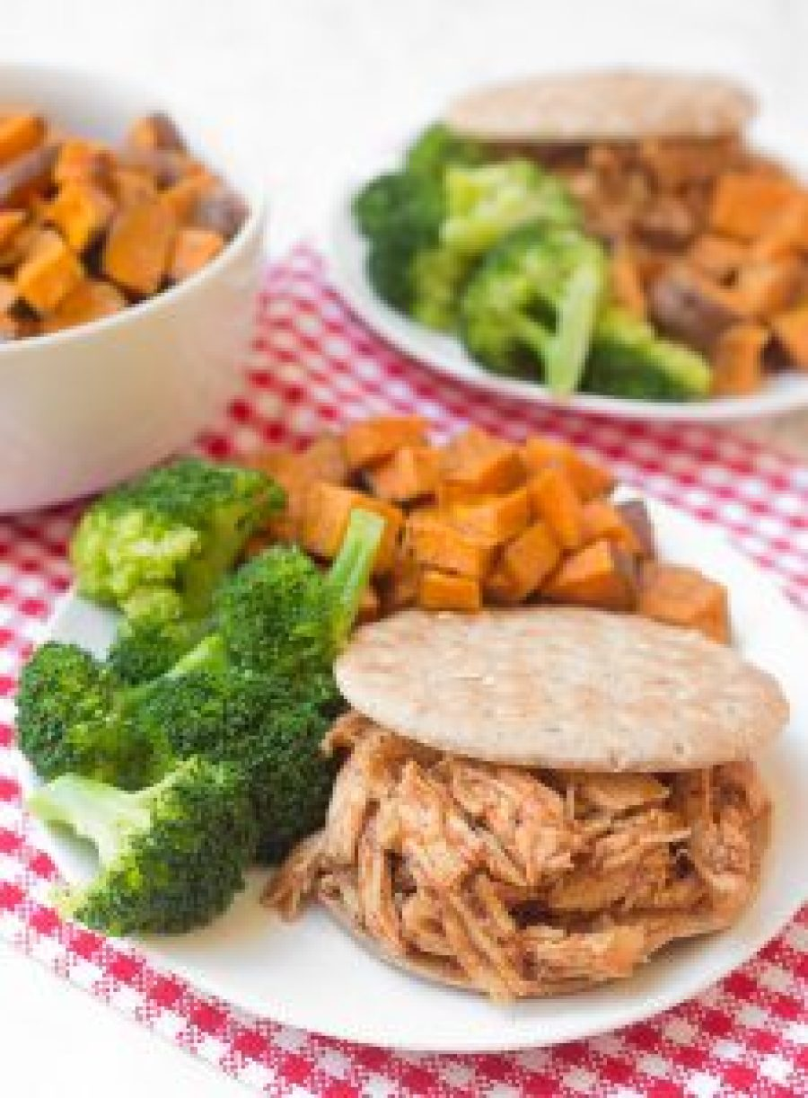 Simple Crockpot Pulled BBQ Chicken for an easy, delicious dinner! Serve with your roasted sweet potatoes, steamed veggies, or your favorite Southern sides