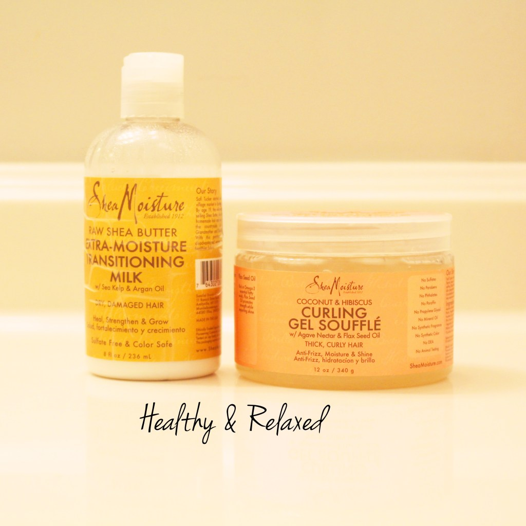 Shea moisture Curling gel souffle and transitioning milk