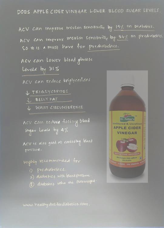 Does Apple cider Vinegar lower blood sugar levels?