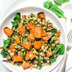 Roasted Pumpkin Zaatar Spinach Barley Bowl