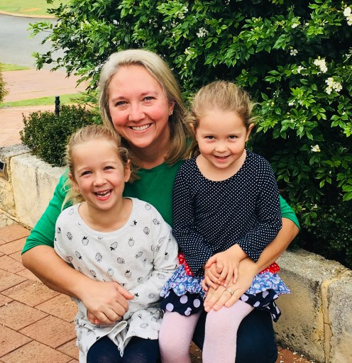 Founder of Healthy Hips Australia Sarah with her two daughters who had hip dysplasia