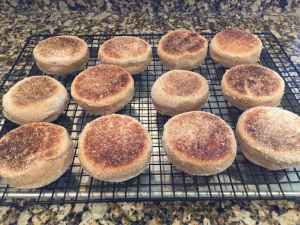 Cooling English muffins on a cooling rack