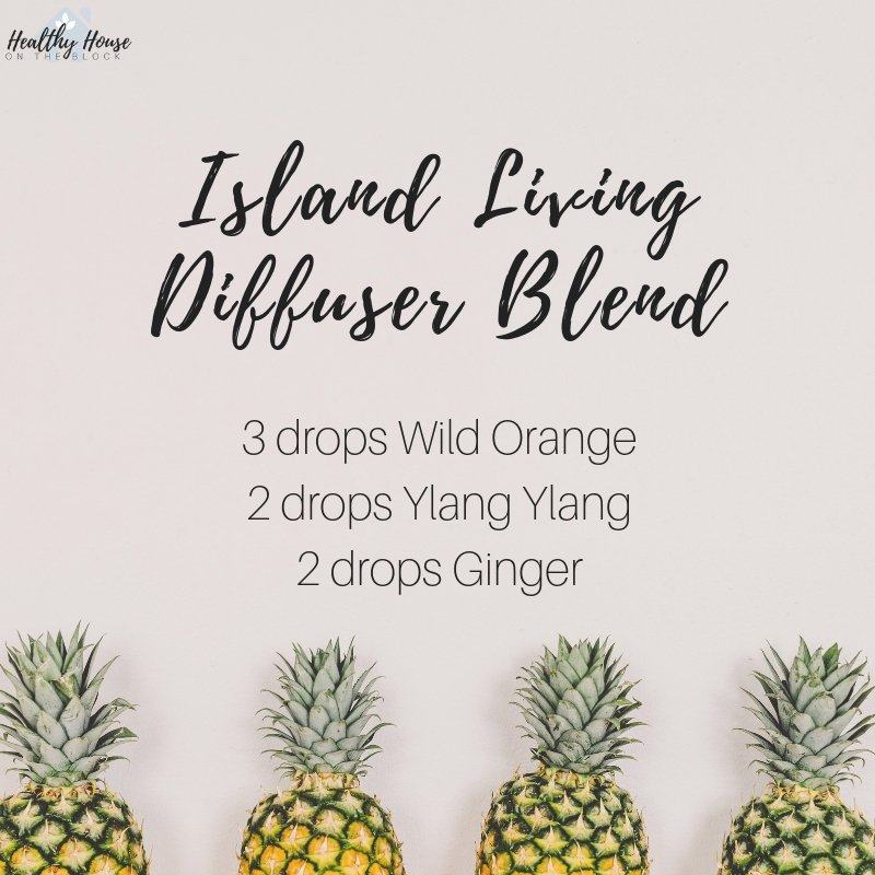 Island Living diffuser blend with wild orange essential oil, ylang ylang essential oil and ginger essential oil