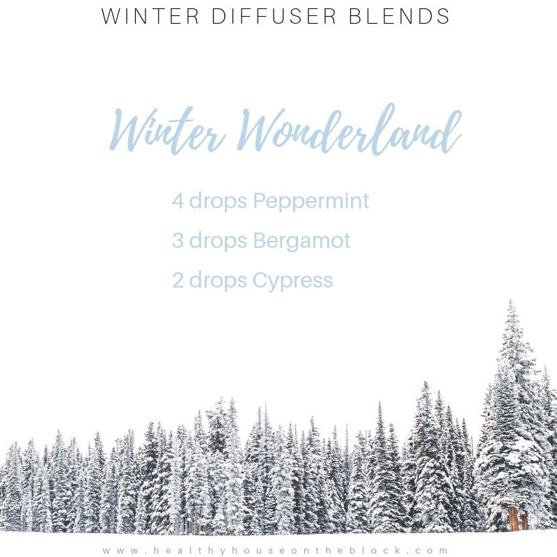 winter diffuser with peppermint essential oil, bergamot essential oil and cypress essential oil