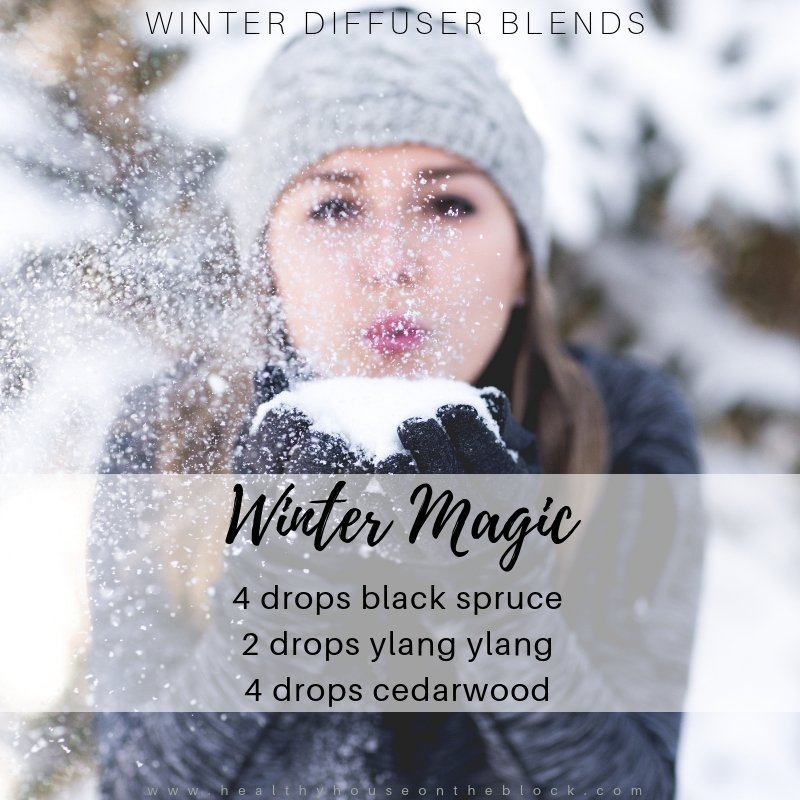 winter diffuser with black spruce essential oil, ylang ylang essential oil and cedarwood essential oil