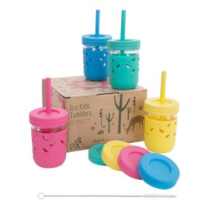 Glass Mason jars 8 oz with Silicone Sleeves & Silicone Straws with Stoppers