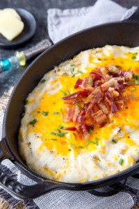 """Instant Pot Loaded Cauliflower Mashed """"Potatoes"""" {Low Carb, Keto}"""