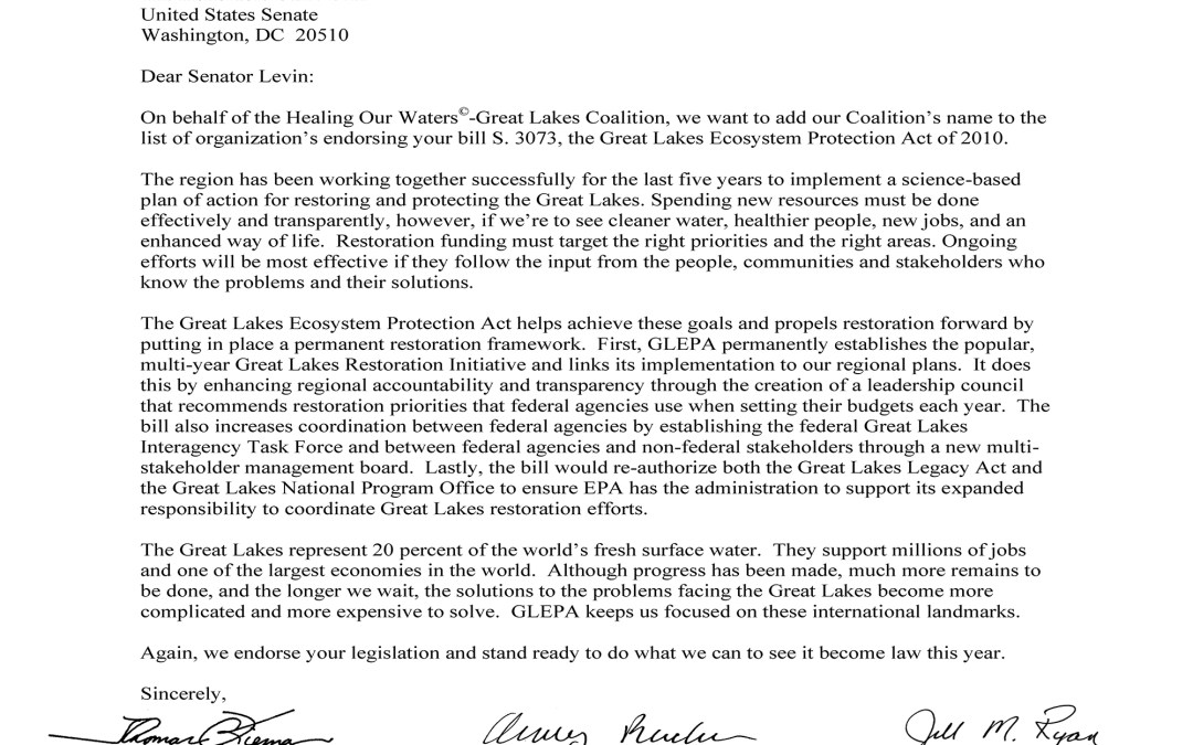 Coalition to Sen. Carl Levin Regarding the Great Lakes Ecosystem Protection Act