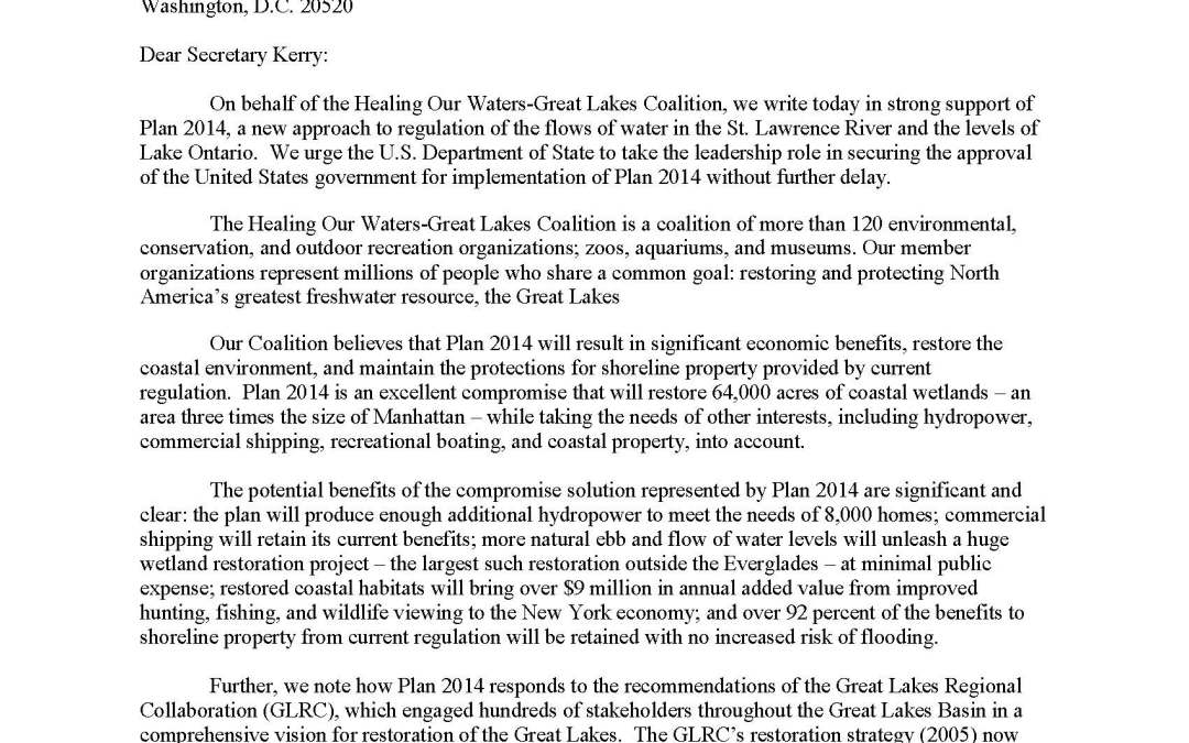Coalition to Secretary of State Regarding Plan 2014