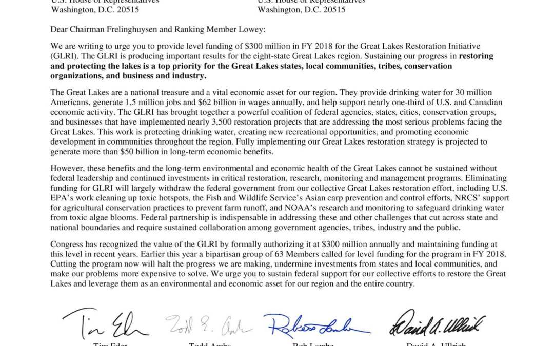 Coalition and Others to House Appropriators Regarding the Great Lakes Restoration Initiative